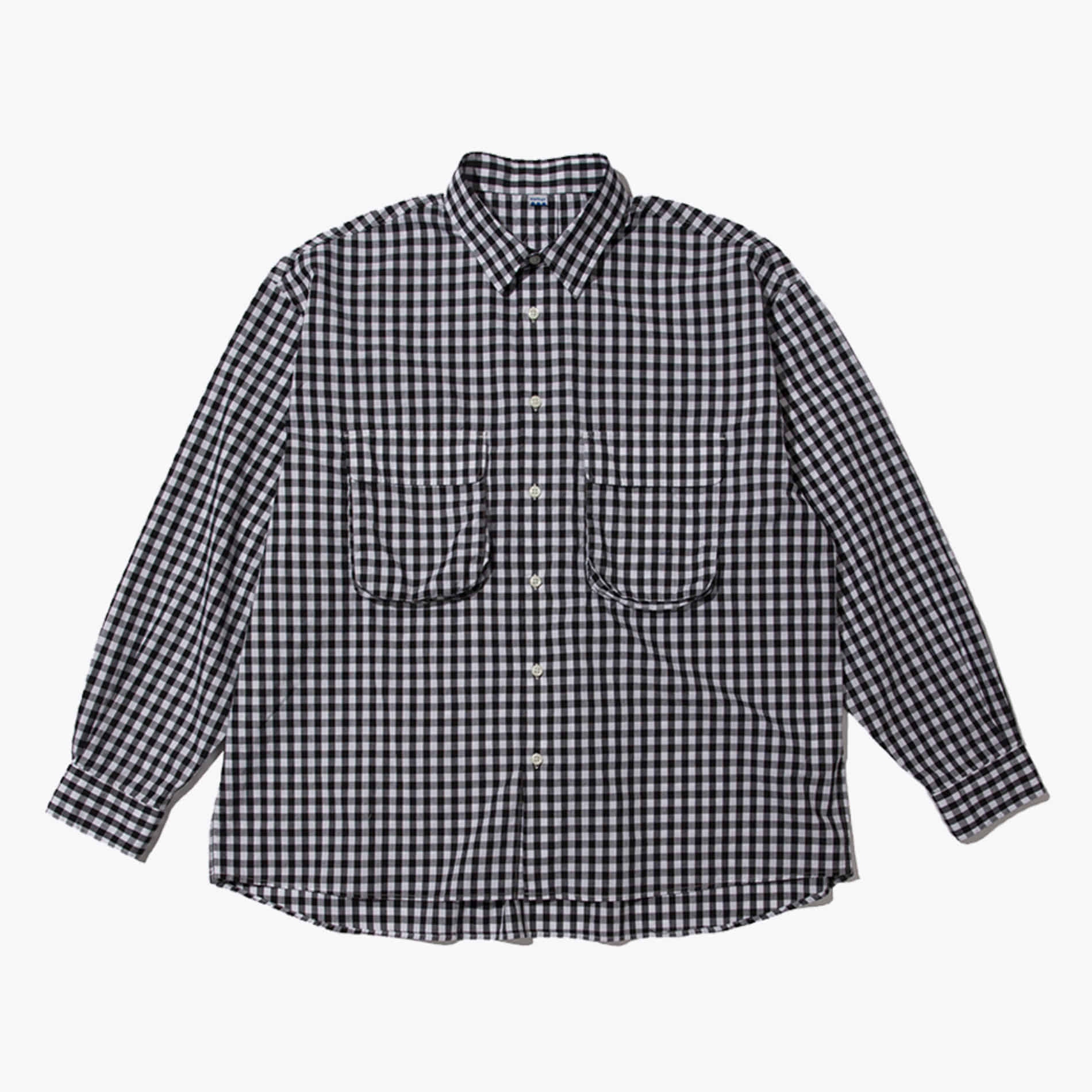 GINGHAM WIDE SHIRT (WHITE/BLACK)