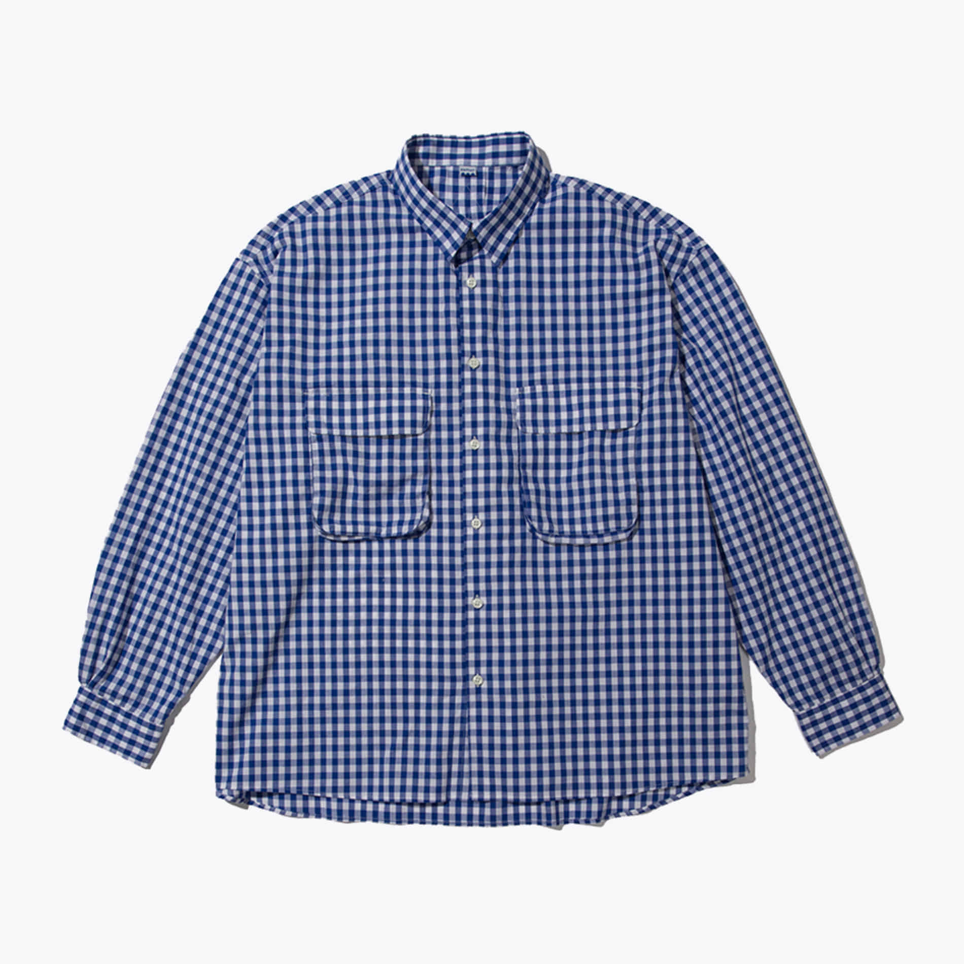 GINGHAM WIDE SHIRT (WHITE/BLUE)