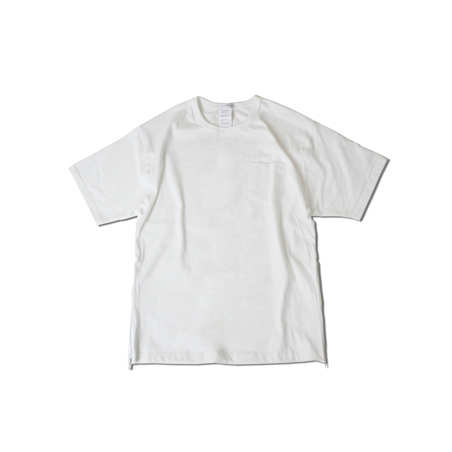 Side zip pocket t-shirts ivory